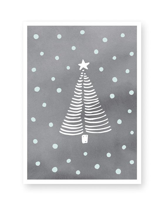 Weihnachtsbaum Poster Skizze schwarz mit Punkten- Winter Dekoration von Printcandy