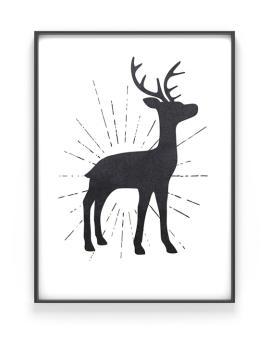 Cooles Hirsch Poster mit einem Hirsch- schwarz - weiss - Printcandy