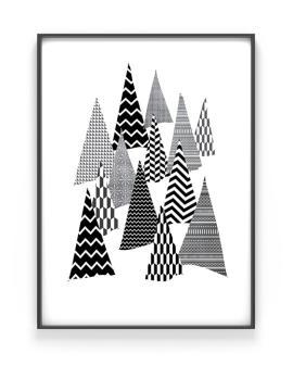 Winterwald Poster - monochrom - Weihnachts Dekoration- Printcandy