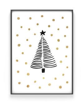 Print zu Weihnachten mit der Skizze von einem Weihnachtsbaum