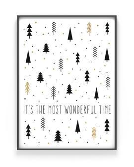 Weihnachts Poster mit freiem Text selber gestalten. schwarz-weiss-gold- Printcandy