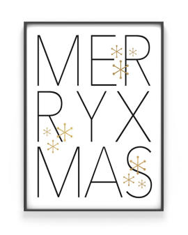 Poster Merry Christmas mit Text Merry Xmas - schwarz - weiss - gold - Printcandy