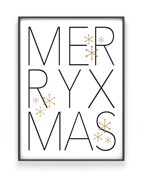 Christmas Poster mit Text Merry Xmas - schwarz - weiss - gold - Printcandy