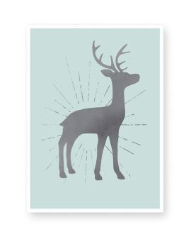 Poster zu Weihnachten mit Hirsch Silhouette- mint - Printcandy