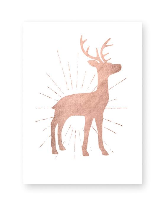 Poster für die Weihanchtsdeko mit Hirsch- kupfer optik