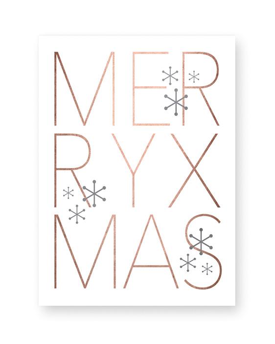 Poster zu Weihnachten mit Text Merry Xmas- weiss - kupfer - Printcandy