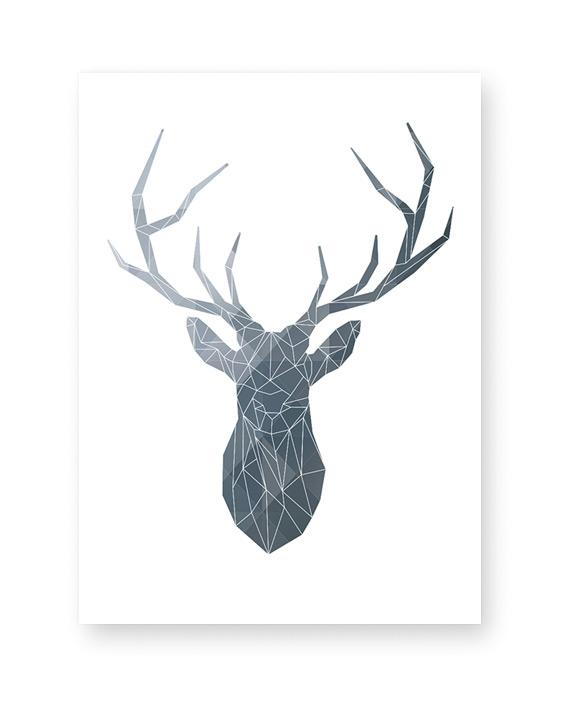 Abstraktes Poster von einem Hirsch - monochrom- Printcandy