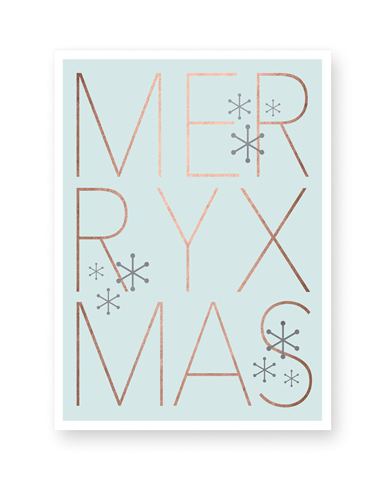 Weihnachts Poster mit Text Merry Xmas - Mint - kupfer- Printcandy