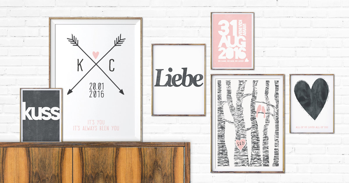Love Poster online selber gestalten bei Printcandy- Bilderwand mit verschiedenen Postern in schwarz-weiss und rosa