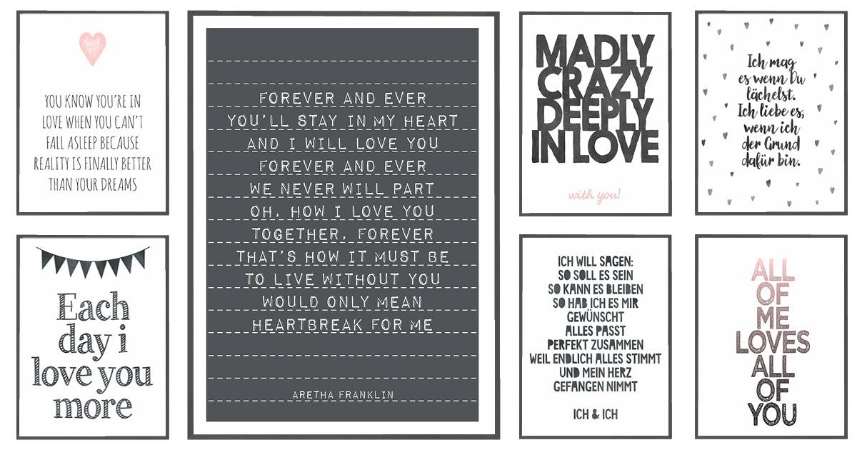 Verschiedene Love Poster mit eigenen Sprüchen und Songtexten zum selber Gestalten bei Printcandy