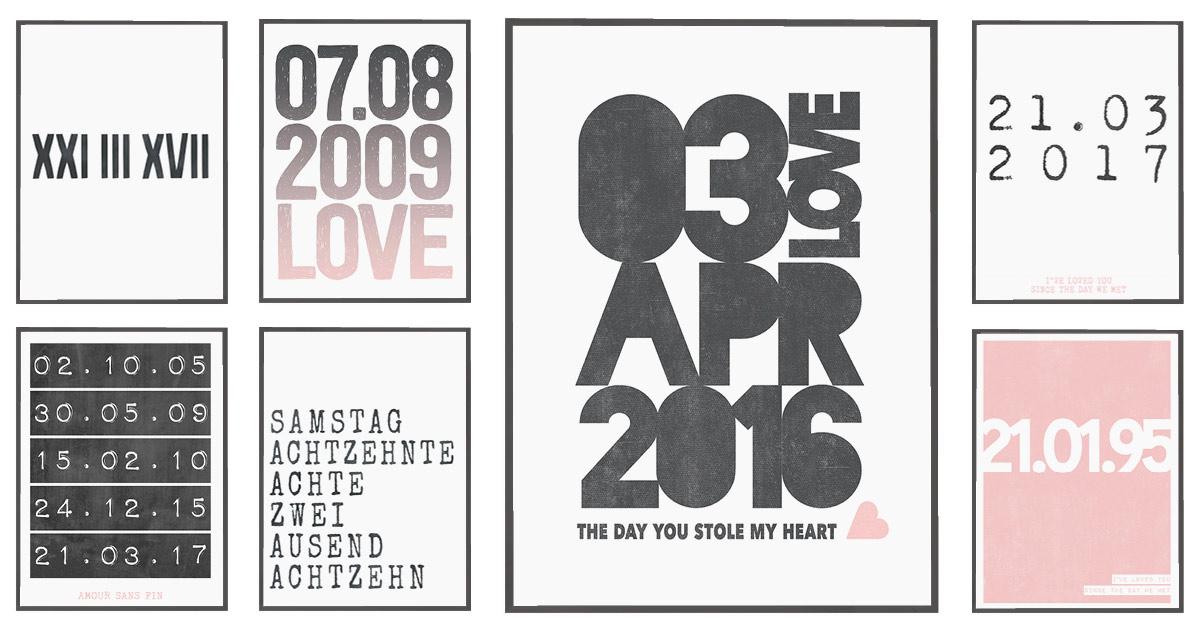 Love Poster - verschiedene Printcandy Designs zusammen gestellt aus Typografie Postern mit Datum