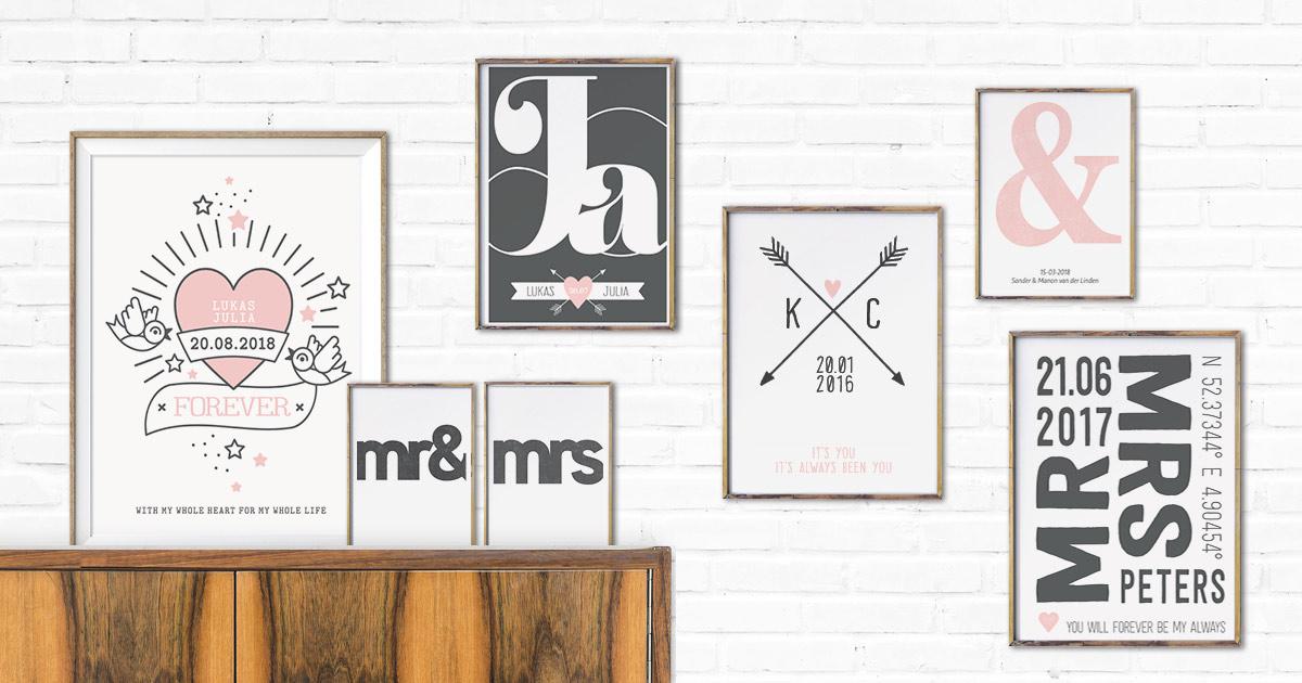 Hochzeitsdekoration aus verschiedenen Love Poster Designs von Printcandy