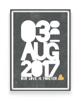 Save the Date Poster | Personalisiert | Schwarz Weiss mit Gelb | Printcandy