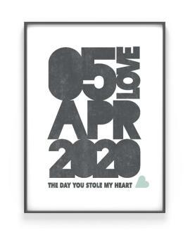Save the Date Poster | Personalisiert | Schwarz Weiss mit Minz | Printcandy