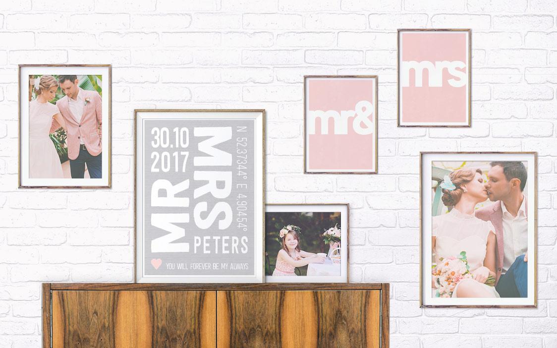 Deko Inspiration von Printcandy mit verschiedenen Love Poster Designs und Hochzeitsfotos