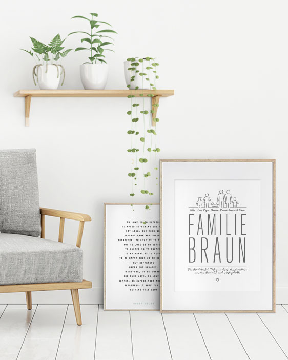 Poster Familie | Individuelle Familien Poster mit Namen und eigenem Text | Printcandy