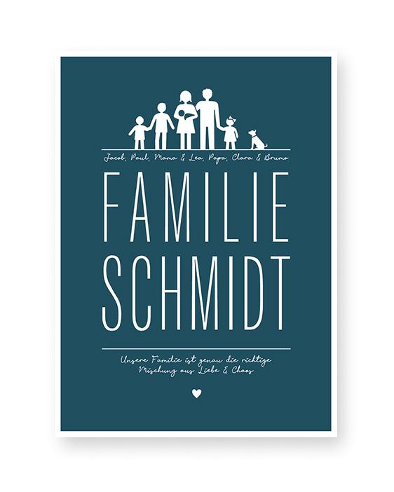 Poster Familie | Personalisierte Familien Poster mit Familie Ikons, Namen und eigenem Text | Printcandy
