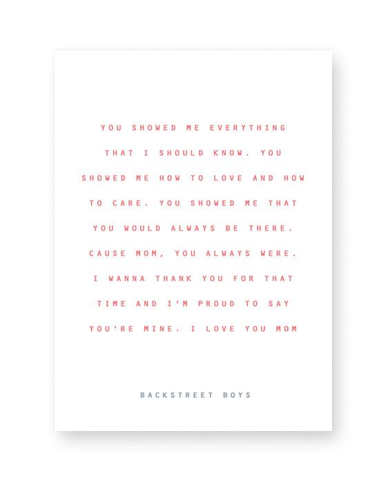 Text Poster mit Songtext - selbst gestalten- Muttertag Geschenk- Printcandy