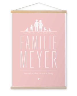 Personalisierte Leinwand mit allen Familienmitgliedern, dem Familien Namen und einem schönen Spruch. Familie auf Leinwand mit Holzaufhängung| Printcandy