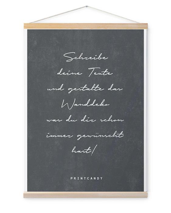Personalisierte Leinwand mit eigenem Text inkl. Posterhänger aus Holz - schwarz- weiss- printcandy.de