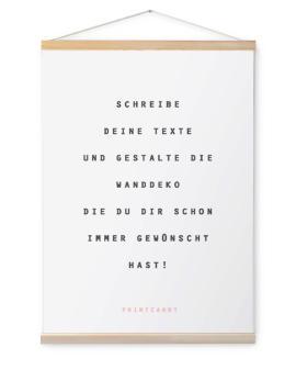 Personalisierte Leinwand mit eigenem Text inkl. Posterhänger aus Holz - weiss- printcandy.de