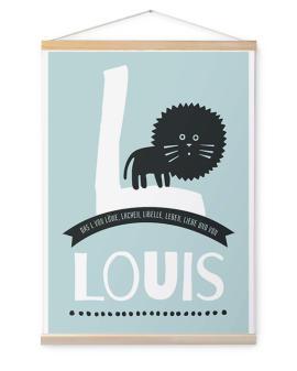 Personalisierte Leinwand mit Namen und dem passenden Tier inkl. Poster Hänger aus Holz- Löwe bei Printcandy.de