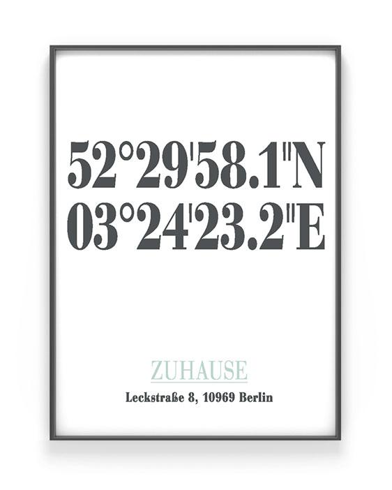 Poster mit Koordinaten | Personalisiert | Schwarz Weiss mit minz | Printcandy