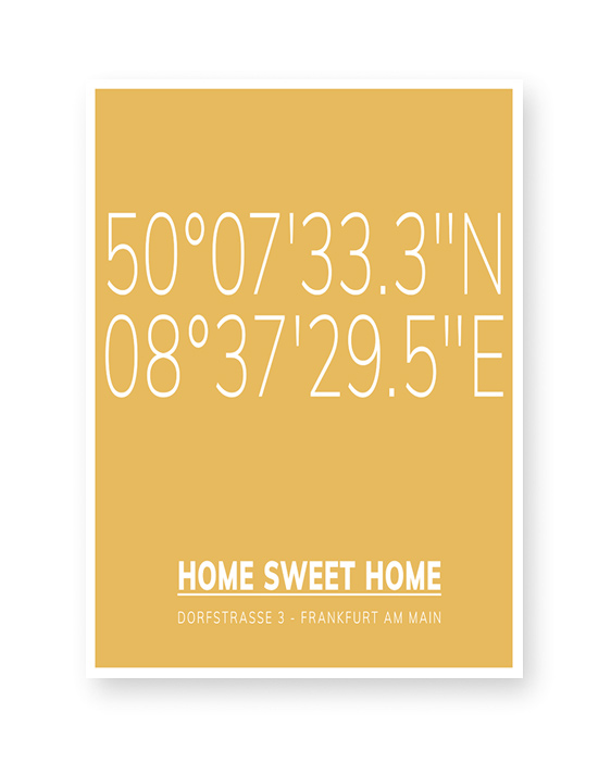 Poster mit Koordinaten Home | Printcandy