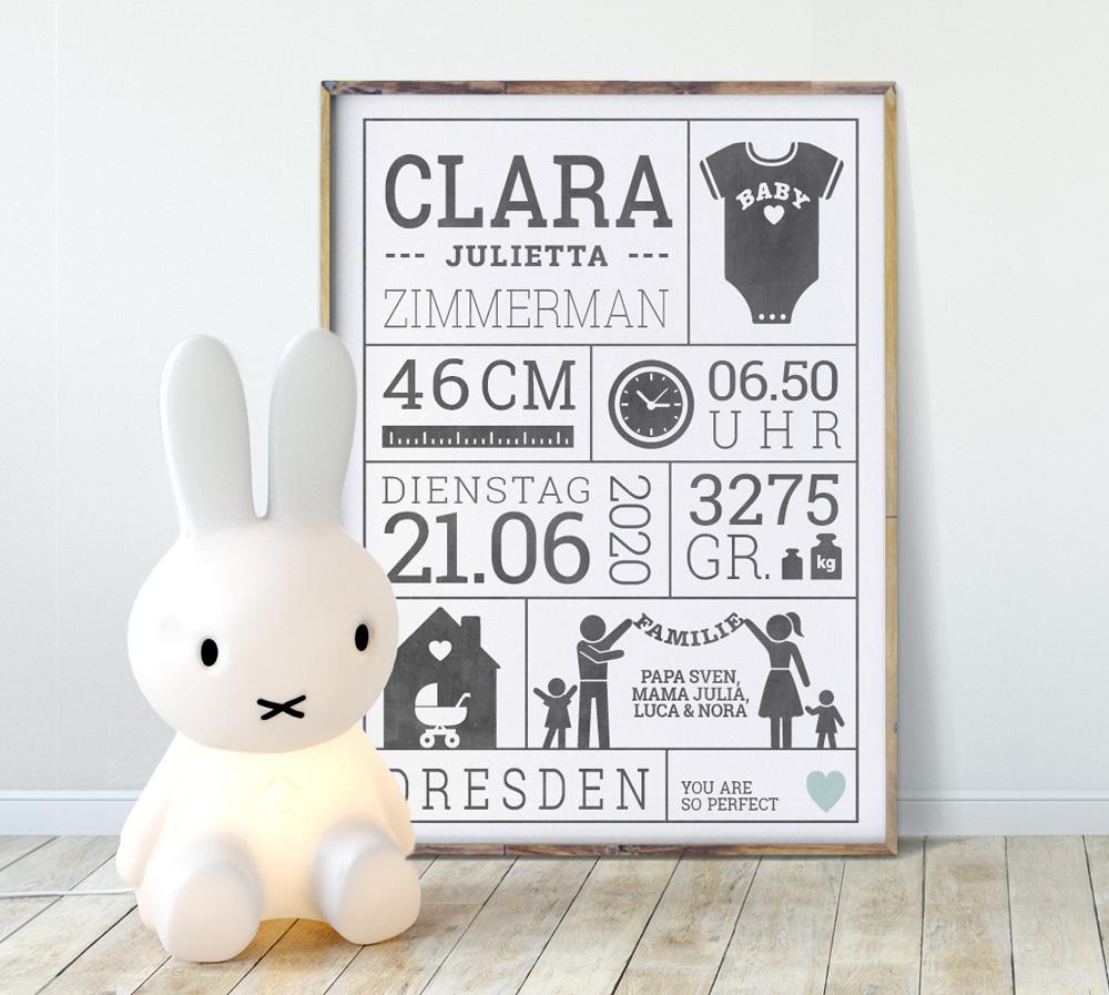Geburtsdaten Poster personalisieren und selber gestalten